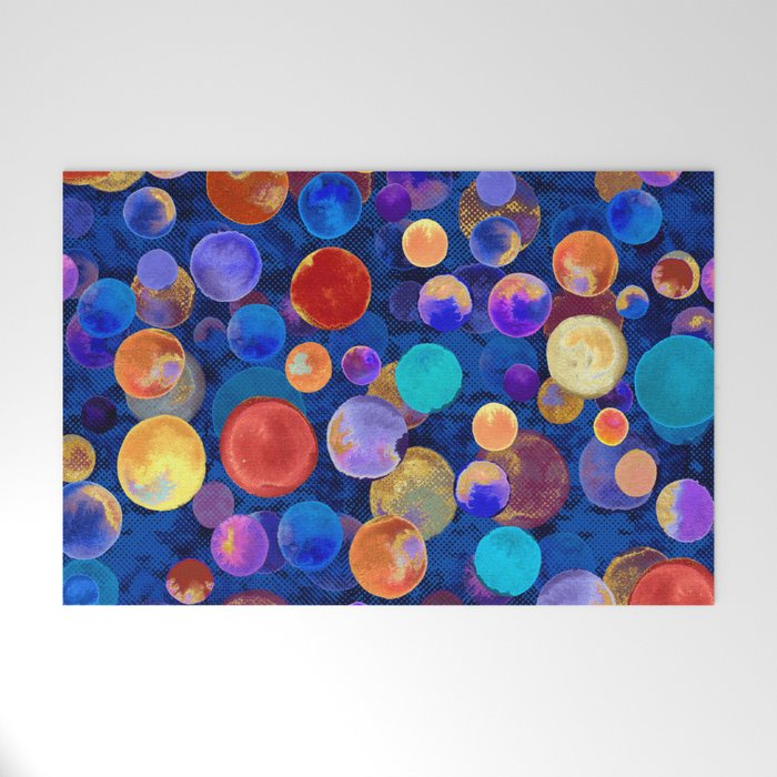 Watercolor Circles On Cobalt Welcome Mat By Designedbydebby