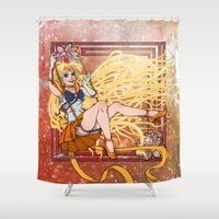 sailor venus Shower Curtains featuring Sailor Venus by Teo Hoble