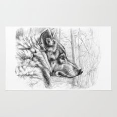 Wolf in woods G082 Rug