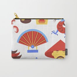 China viajes símbolos de la cultura tradicional china patrón transparente ilustración vectorial Carry-All Pouch