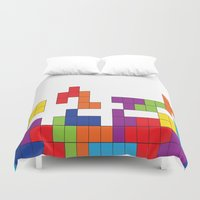 tetris Duvet Covers featuring Tetris by Jennifer Agu