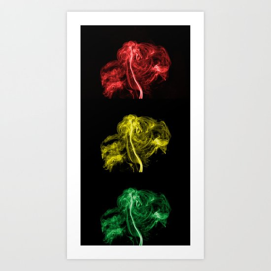Explosive Traffic Lights Art Print