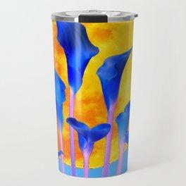 GOLDEN FULL MOON BLUE CALLA LILIES BLUE ART Travel Mug
