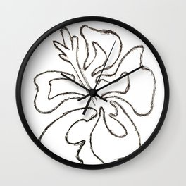 Hibiscus Flower Drawing Wall Clock