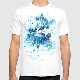 Three Sea Turtles, blue bathroom turtle artwork, Underwater T-shirt
