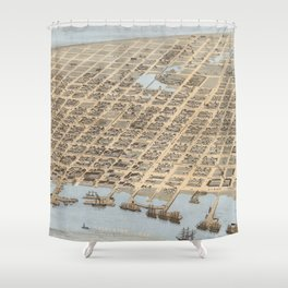 Vintage Pictorial Map of Galveston (1871) Shower Curtain