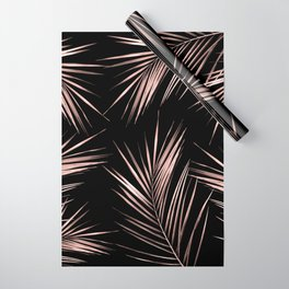 Rosegold Palm Tree Leaves on Midnight Black Wrapping Paper
