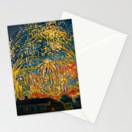 Colorful Summer Fireworks in Nice, France landscape by Nicolai Tarkoff Stationery Cards