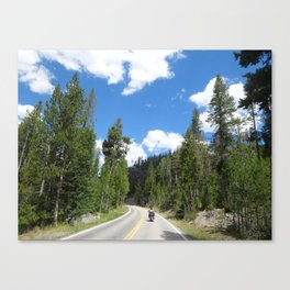 Biker freedom in the woods of the west Canvas Print