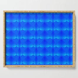 Mother of pearl pattern of blue hearts and stripes on a heavenly background. Serving Tray