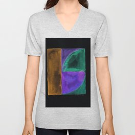 180818 Inverted Geometrical Watercolour 1| Colorful Abstract | Modern Watercolor Art Unisex V-Neck