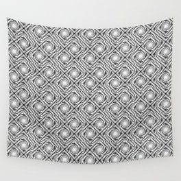 Black and White Broken Diamond Swirl Pattern Wall Tapestry