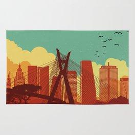Sao Paulo vintage poster travel Rug