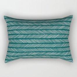 Dark Teal Small Herringbone Rectangular Pillow