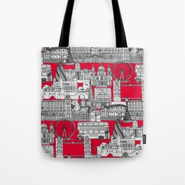 London toile red Tote Bag