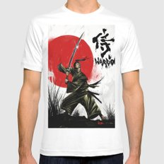 Samurai Warrior MEDIUM White Mens Fitted Tee