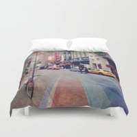 broadway Duvet Covers featuring On Broadway by Wired Circuit