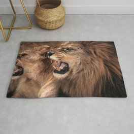 Amazing Impressive African Lion Family Roaring Close Up Ultra HD Rug
