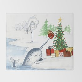 Christmas Narwhal Throw Blanket