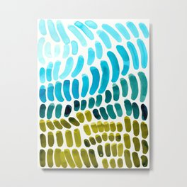 Complementary colors Blue Green Watercolor Natural Pattern Colorful Mid Century Modern Art Metal Print