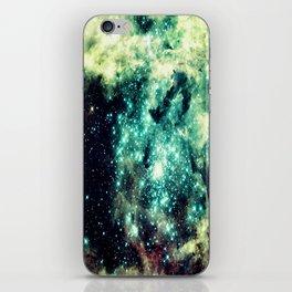 Galaxy Nebula Teal iPhone Skin