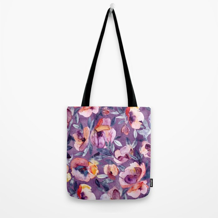 May Afternoon - a watercolor floral in purple and peach Tote Bag