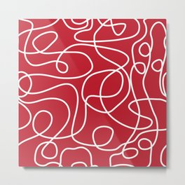 Doodle Line Art | White Lines on Dark Red Metal Print