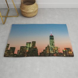 Lower Manhattan Skyline (blue and red sunset) Rug