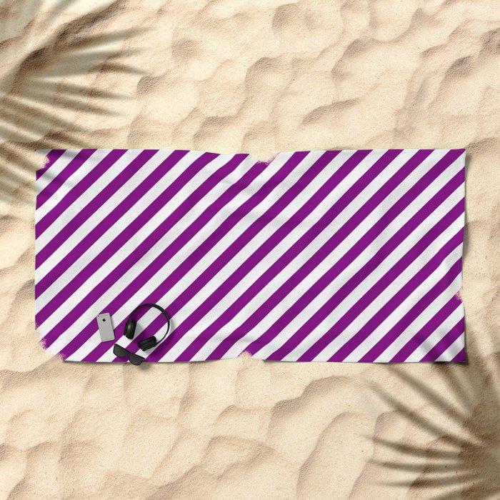 Diagonal Stripes (Purple/White) Beach Towel