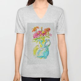 Zinnia Bright Bouquet Water Pitcher watercolor by CheyAnne Sexton Unisex V-Neck