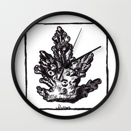 Coral lithography print Wall Clock