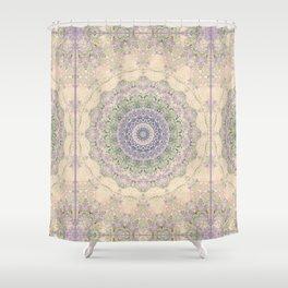 32 Wisteria Pine Loop -- Vintage Cream and Lavender Purple Mandala  Shower Curtain