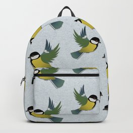 Flying great tit bird  Backpack