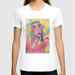 Yellow Mood, Pastel Collage Girl Portrait T-shirt