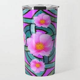 Mystical Wild Pink Celtic Roses Teal Purple Art Travel Mug