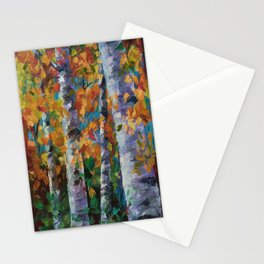 Birch trees - Palette Knife  Stationery Cards