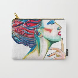 Colorful ink drawing of a women, ink art, girl illustration, modern women art Carry-All Pouch