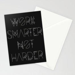 Work Smarter Not Harder Typography Poster - Black Stationery Cards