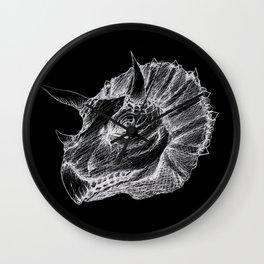 Triceratops negative drawing Wall Clock