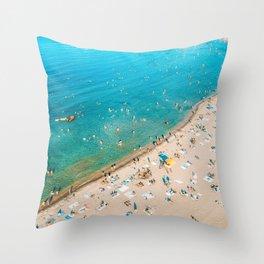 Keep Calm And Think Of The Beach   Aerial Print   Beach Print   Waves Art Print   Modern Wall Art Throw Pillow