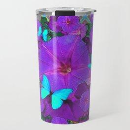 Shimmering Blue Butterflies  Purple Floral Art Travel Mug