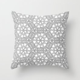 Love Hearts Doodle - Silver Throw Pillow