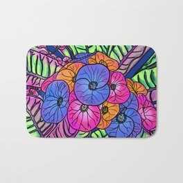 Colourful Flowers and Leaves Bath Mat