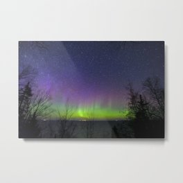 Aurora Borealis over Lake Superior Metal Print