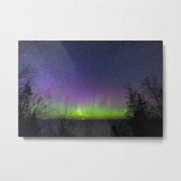 Aurora Borealis over Lake Superior Metal Print