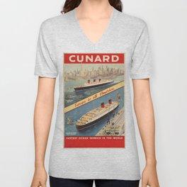 Vintage poster - Cunard Unisex V-Neck
