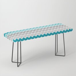 Turquoise Teal Blue Gray Chevron Bench