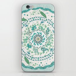 Leaf and Feather Calming Turquoise Mandala iPhone Skin
