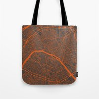 paris map Tote Bags featuring Paris map by Map Map Maps