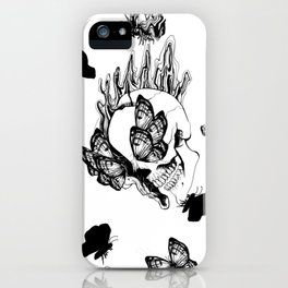 Trippy skulls and butterflies pattern iPhone Case